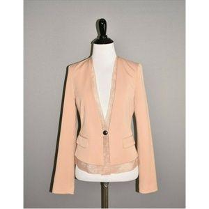 GAP Blush Pink Fitted Blazer Jacket Chiffon Trim